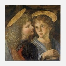 Baptism of Christ Angels Leonardo da Tile Coaster