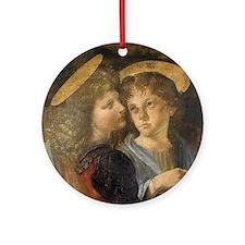 Baptism of Christ Angels Leonardo d Round Ornament