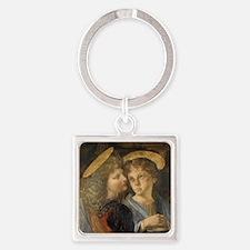Baptism of Christ Angels Leonardo Square Keychain