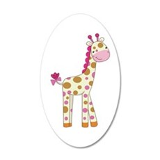 Cute Baby Giraffe 20x12 Oval Wall Decal