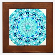Aqua Lace Mandala Framed Tile