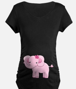 Cute Pink Baby Girl Elephant T-Shirt