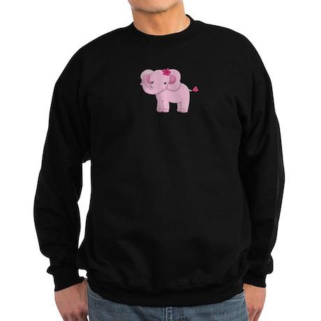Cute Pink Baby Girl Elephant Sweatshirt (dark)