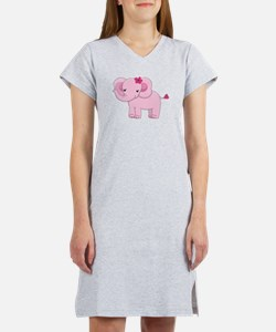 Cute Pink Baby Girl Elephant Women's Nightshirt
