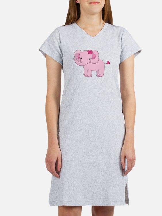Cute Pink Baby Girl Elephant Women's Nightshirt