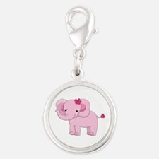 Cute Pink Baby Girl Elephant Silver Round Charm