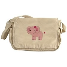 Cute Pink Baby Girl Elephant Messenger Bag
