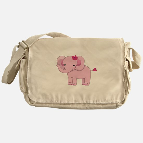 Cute Pink Baby Girl Elephant Messenger Bag