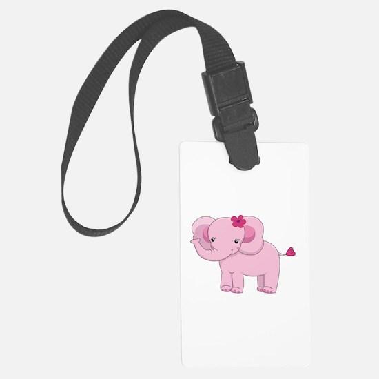 Cute Pink Baby Girl Elephant Luggage Tag