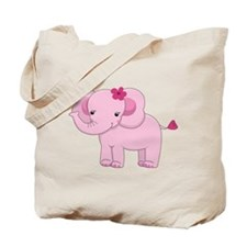 Cute Pink Baby Girl Elephant Tote Bag
