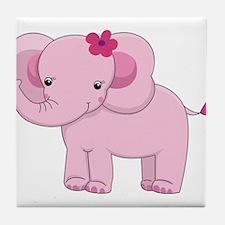 Cute Pink Baby Girl Elephant Tile Coaster