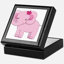 Cute Pink Baby Girl Elephant Keepsake Box