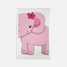 Cute Pink Baby Girl Elephant Rectangle Magnet
