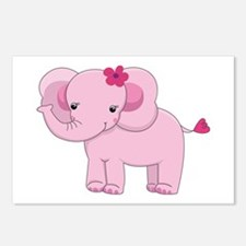 Cute Pink Baby Girl Elephant Postcards (Package of