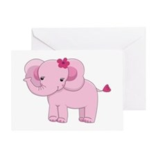 Cute Pink Baby Girl Elephant Greeting Card