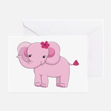 Cute Pink Baby Girl Elephant Greeting Card