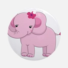 Cute Pink Baby Girl Elephant Ornament (Round)