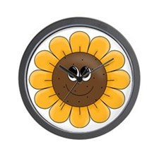 cute sunflower smiley face cartoon Wall Clock