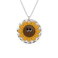 cute sunflower smiley face c Necklace