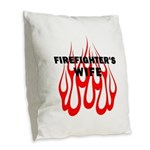 Firefighters Wife Flames Burlap Throw Pillow