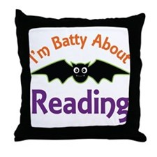 Batty About Reading Throw Pillow