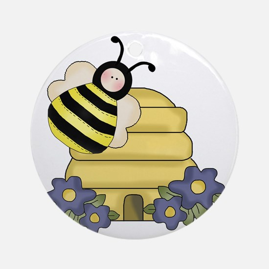 cute beehive and bumble bee Round Ornament
