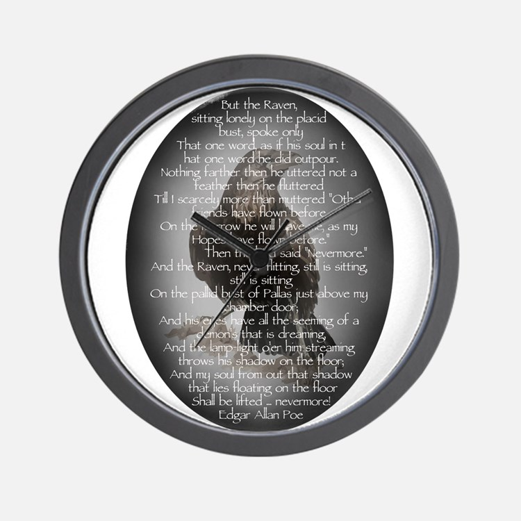 Edgar Allen Poe The Raven Poem Wall Clock