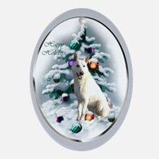 White German Shepherd Christmas Oval Ornament