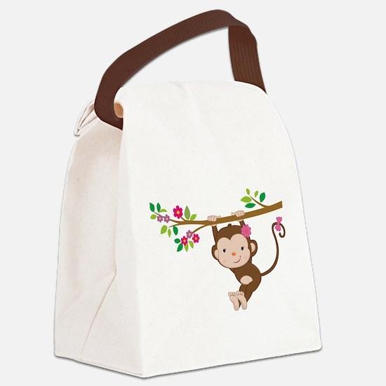 Swinging Baby Monkey Canvas Lunch Bag