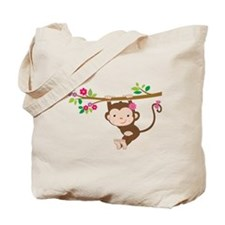 Swinging Baby Monkey Tote Bag