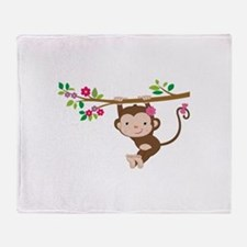Swinging Baby Monkey Throw Blanket