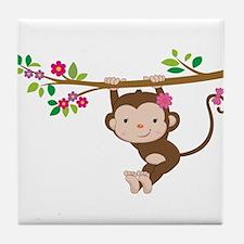 Swinging Baby Monkey Tile Coaster