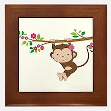 Swinging Baby Monkey Framed Tile