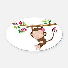 Swinging Baby Monkey Oval Car Magnet