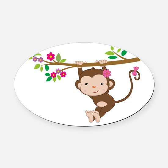 Swinging Baby Monkey Oval Car Magnet