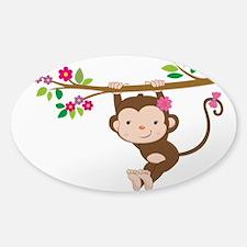 Swinging Baby Monkey Sticker (Oval)