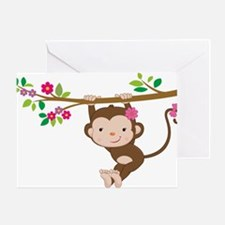 Swinging Baby Monkey Greeting Card