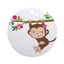 Swinging Baby Monkey Ornament (Round)