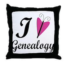 I Heart Genealogy Throw Pillow