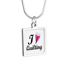 I Love Quilting Silver Square Necklace