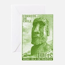 1965 Chile Easter Island Moai Statue Postage Stamp