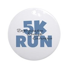 5K Run Blue Ornament (Round)