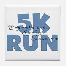 5K Run Blue Tile Coaster