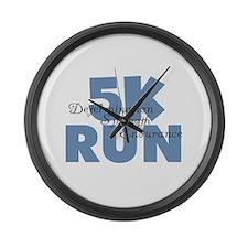 5K Run Blue Large Wall Clock