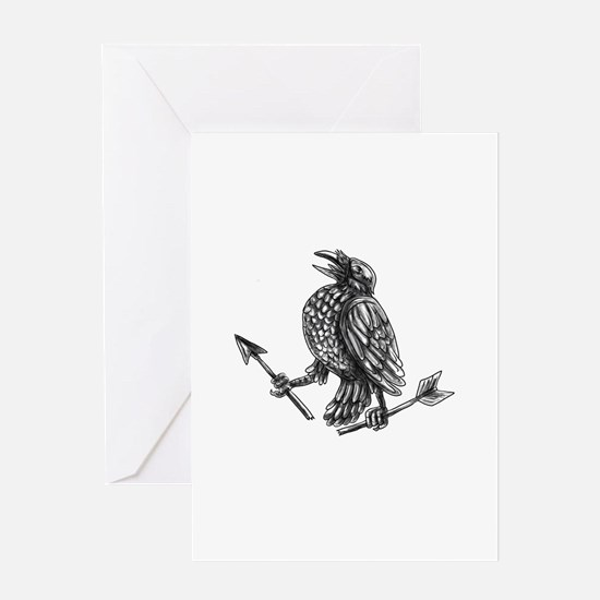 Crow Clutching Broken Arrow Tattoo Greeting Cards