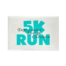 5K Run Aqua Rectangle Magnet