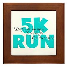 5K Run Aqua Framed Tile