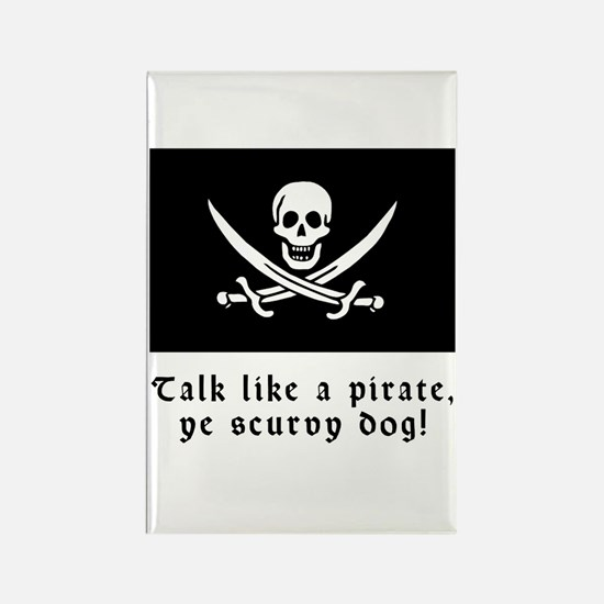 Jolly Roger Talk Like a Pirate Rectangle Magnet