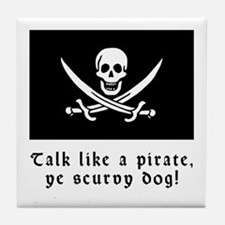 Jolly Roger Talk Like a Pirate Tile Coaster