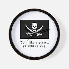 Jolly Roger Talk Like a Pirate Wall Clock
